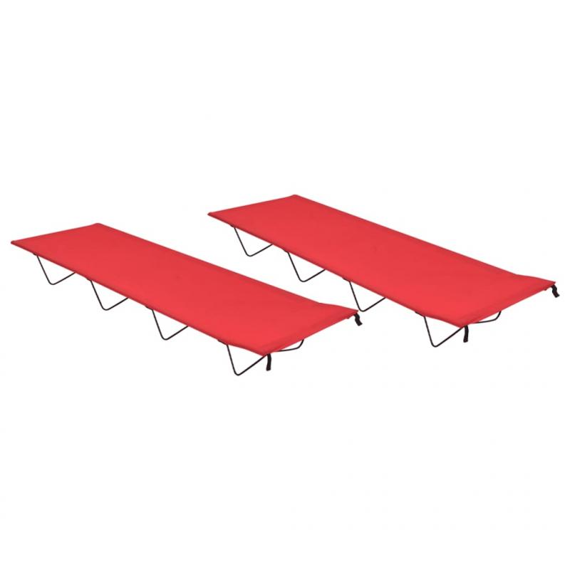 Campingbetten 2 Stk. 180x60x19 cm Oxford-Gewebe und Stahl Rot