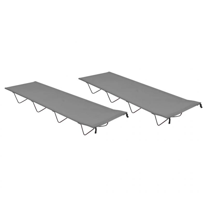 Campingbetten 2 Stk. 180x60x19 cm Oxford-Gewebe und Stahl Grau
