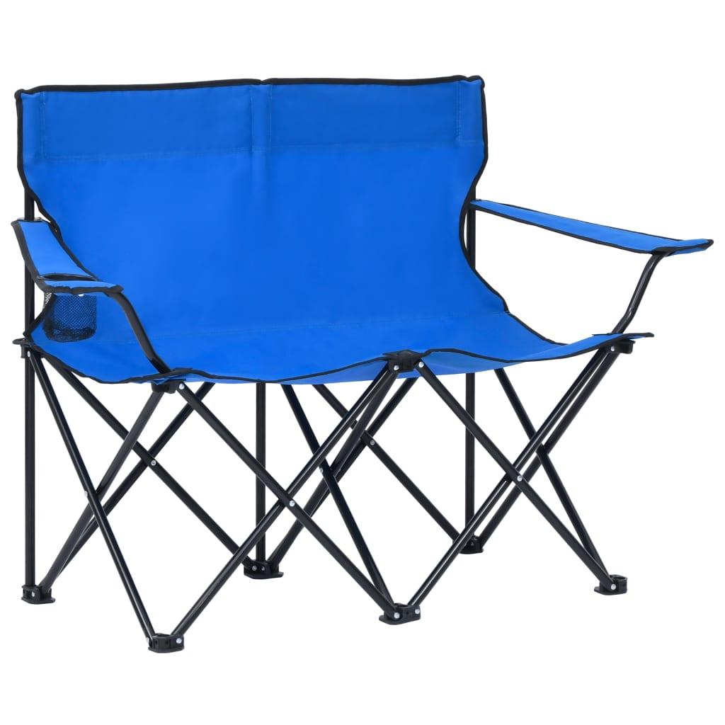 Campingstuhl 2-Sitzer Klappbar Stahl und Stoff Blau