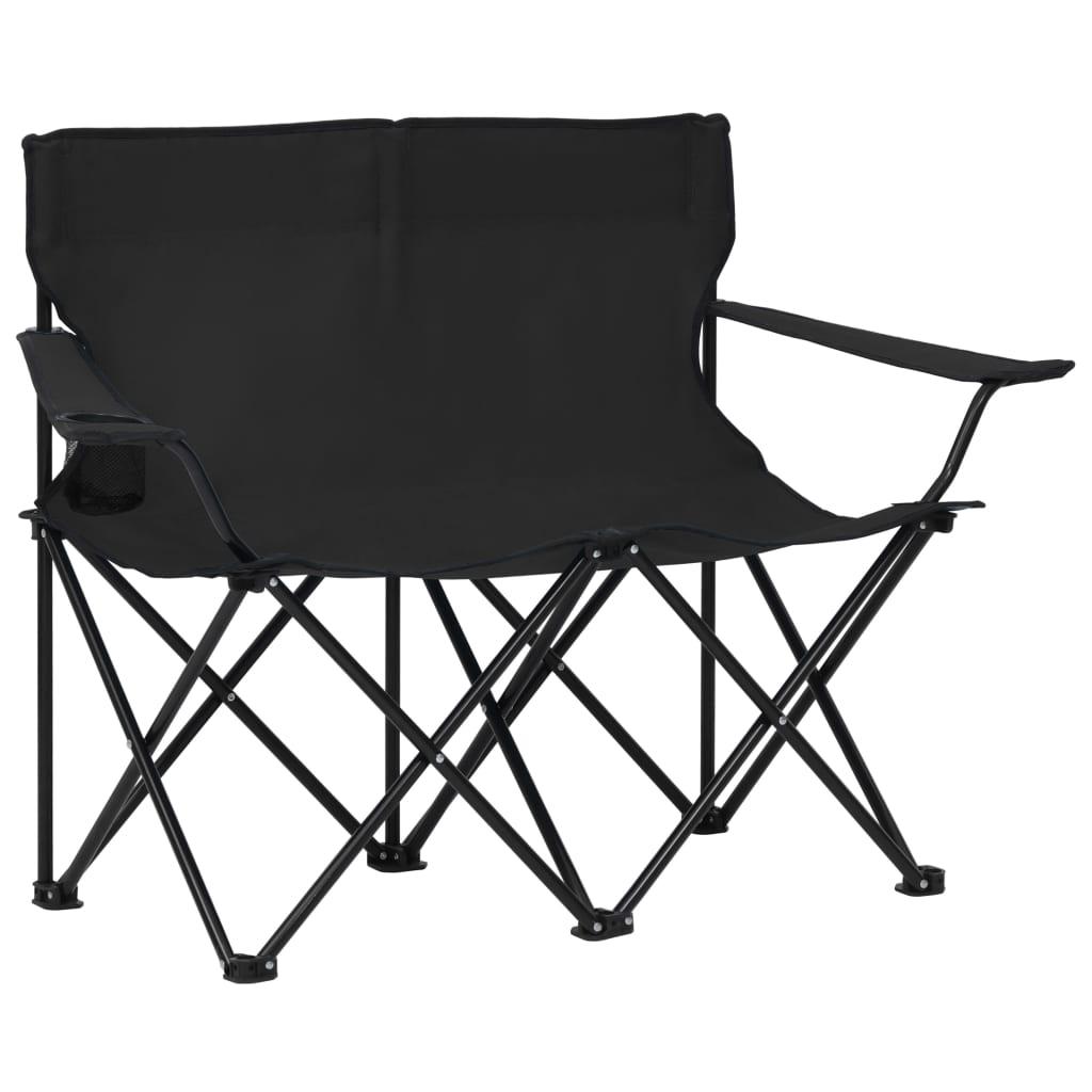 Campingstuhl 2-Sitzer Klappbar Stahl und Stoff Schwarz