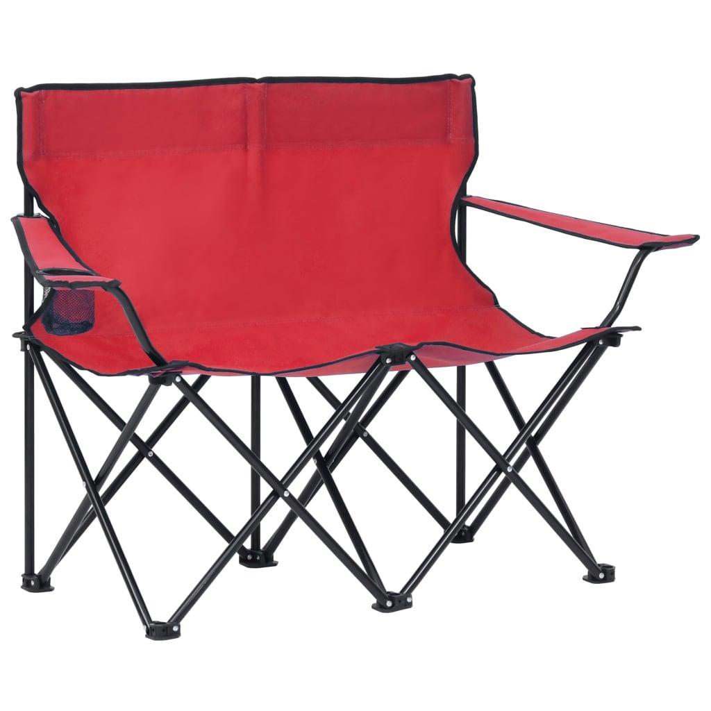Campingstuhl 2-Sitzer Klappbar Stahl und Stoff Rot