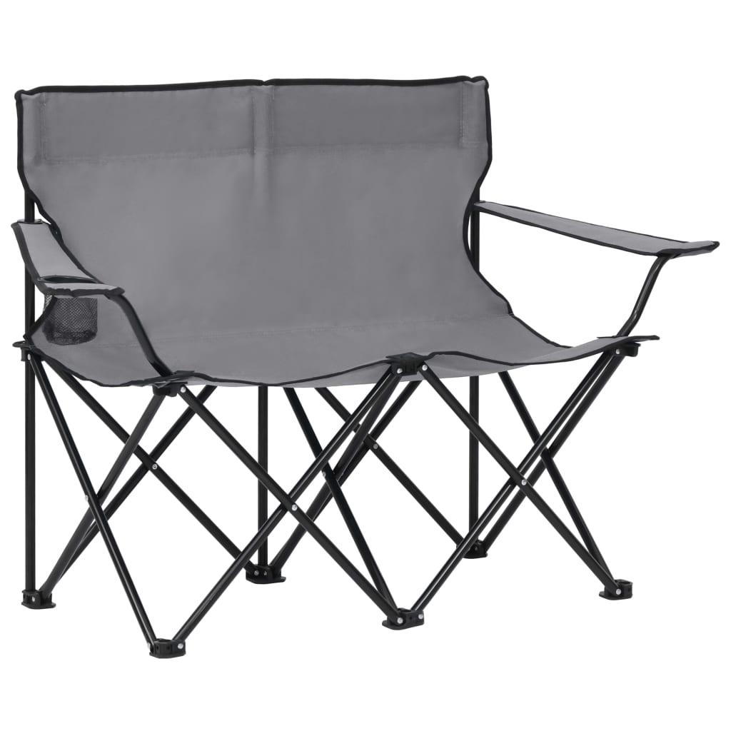 Campingstuhl 2-Sitzer Klappbar Stahl und Stoff Grau