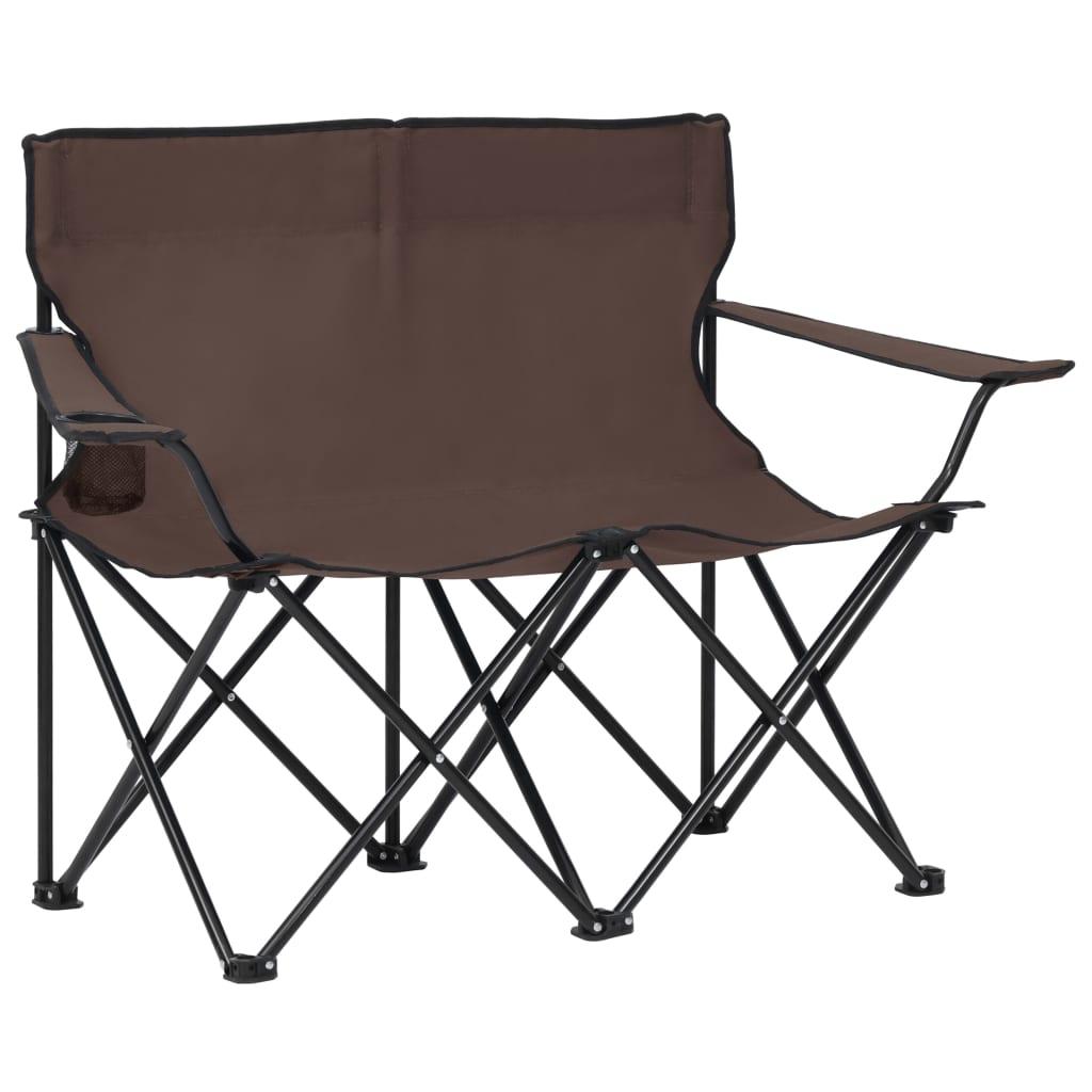 Campingstuhl 2-Sitzer Klappbar Stahl und Stoff Taupe