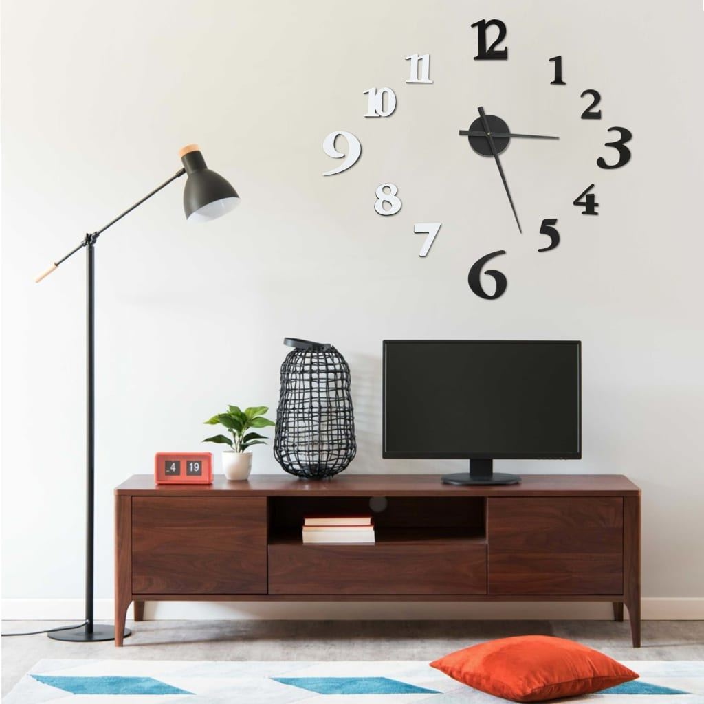 3D-Wanduhr Modernes Design Schwarz und Weiß 100 cm XXL