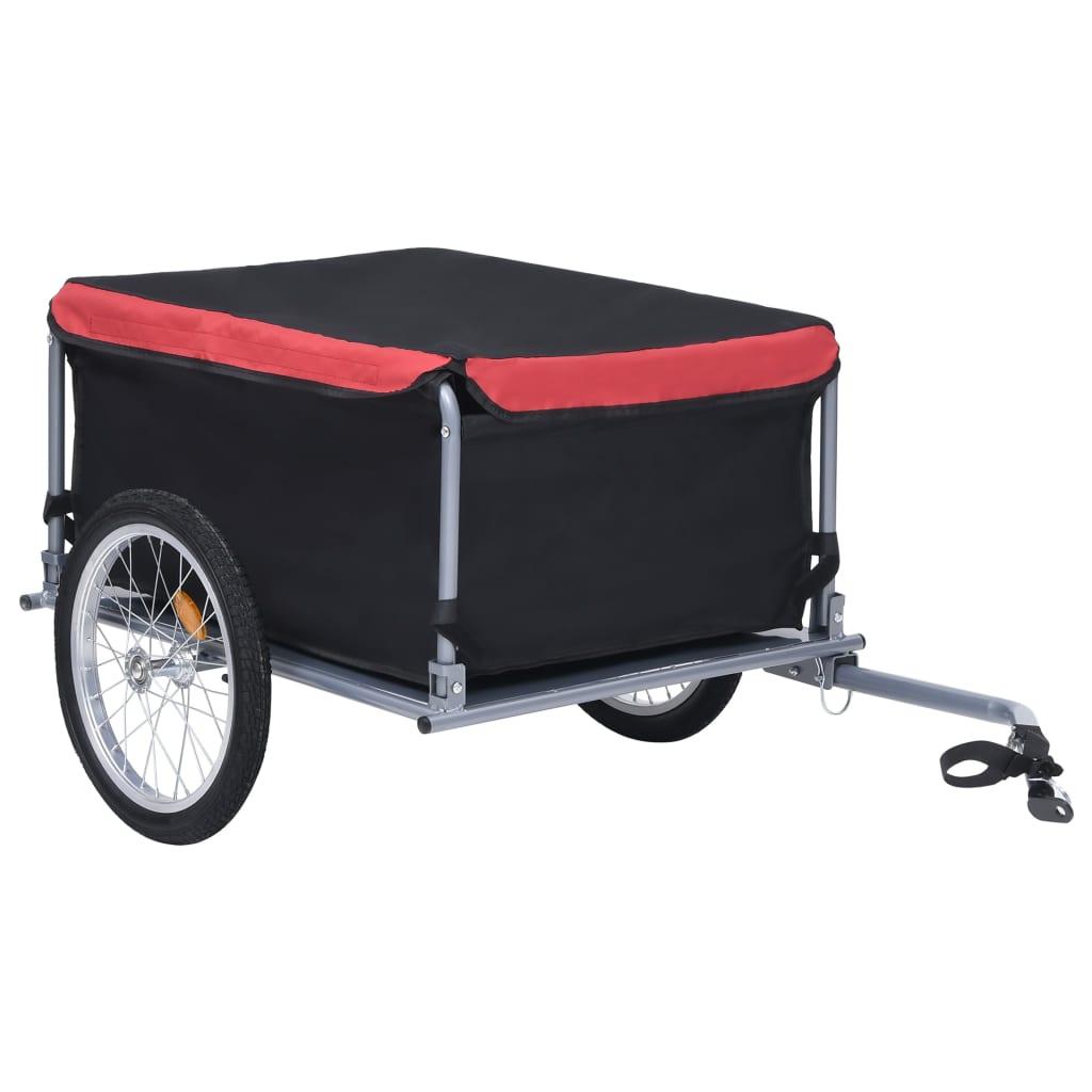 Fahrrad-Lastenanhänger Schwarz und Rot 65 kg