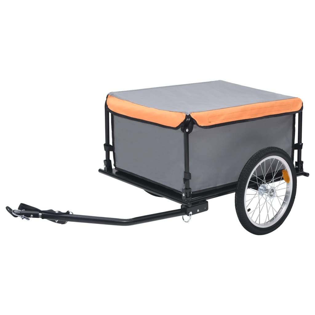 Fahrrad-Lastenanhänger Grau und Orange 65 kg