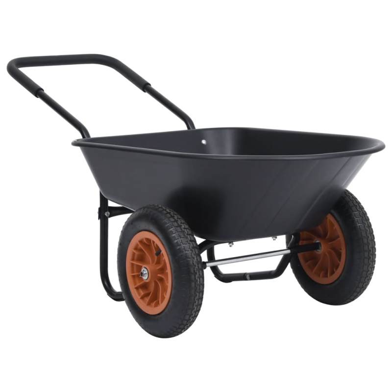 Schubkarre Schwarz und Orange 78 L 100 kg