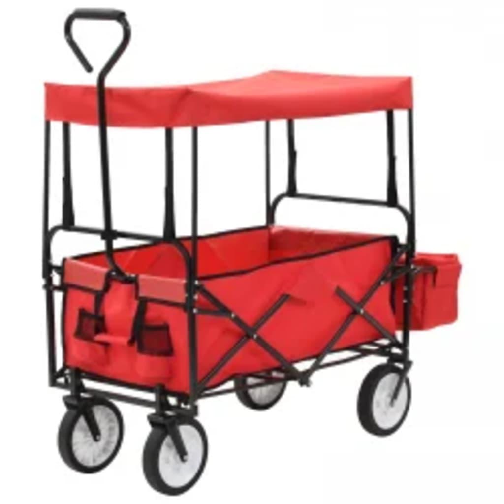Klappbarer Handwagen mit Sonnendach Stahl Rot