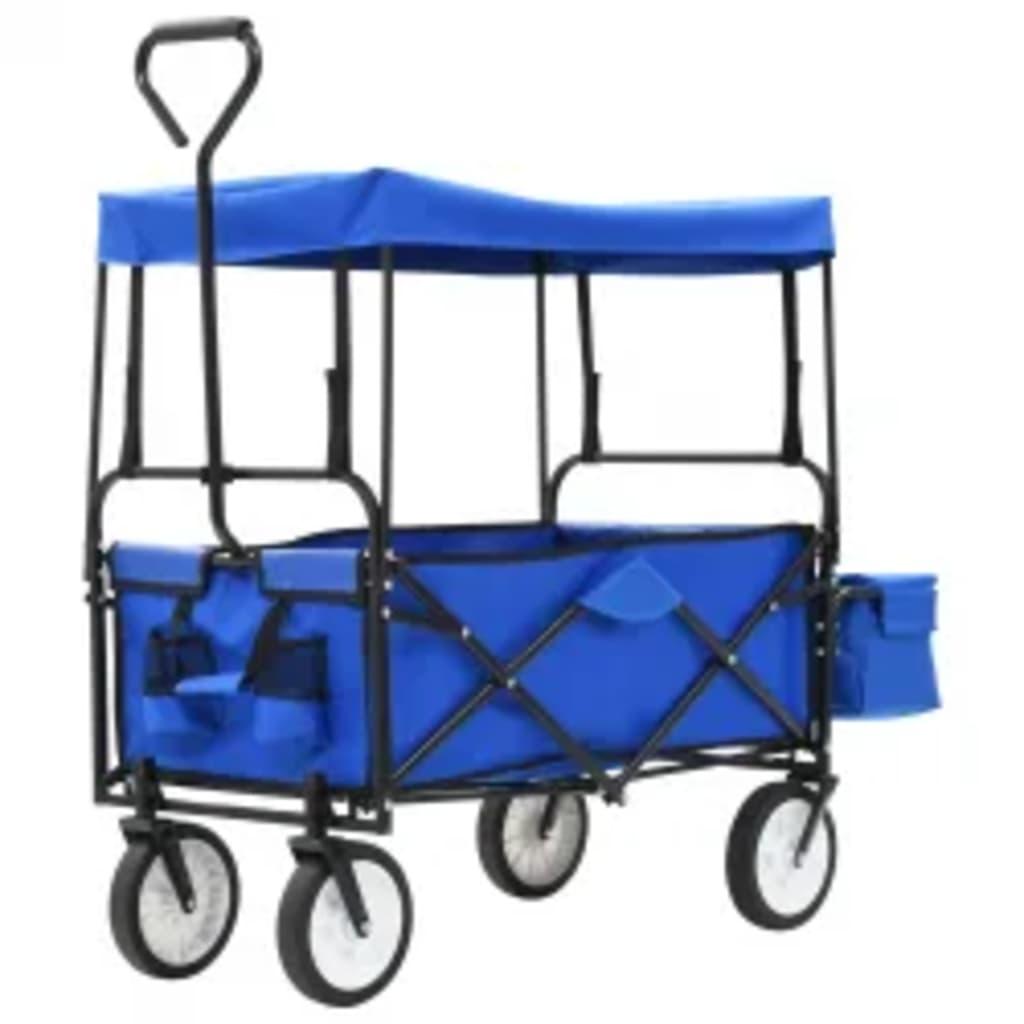 Klappbarer Handwagen mit Sonnendach Stahl Blau