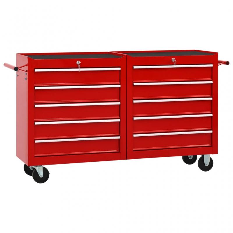 Werkzeugwagen mit 10 Schubladen Stahl Rot