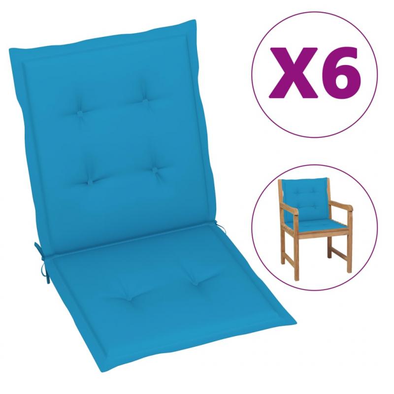 Gartenstuhlauflagen 6 Stk. Blau 100x50x4 cm