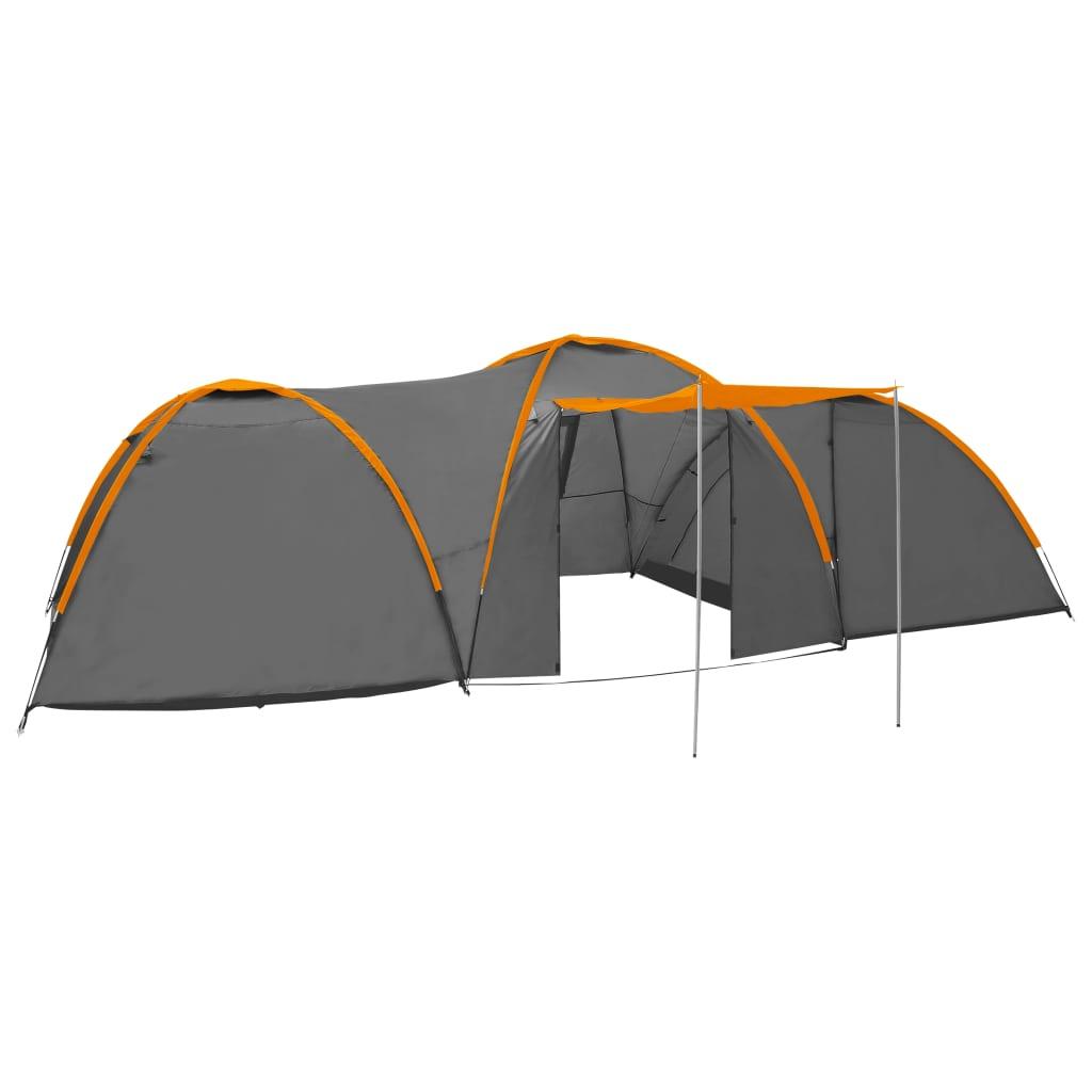 Camping-Igluzelt 650x240x190 cm 8 Personen Grau und Orange