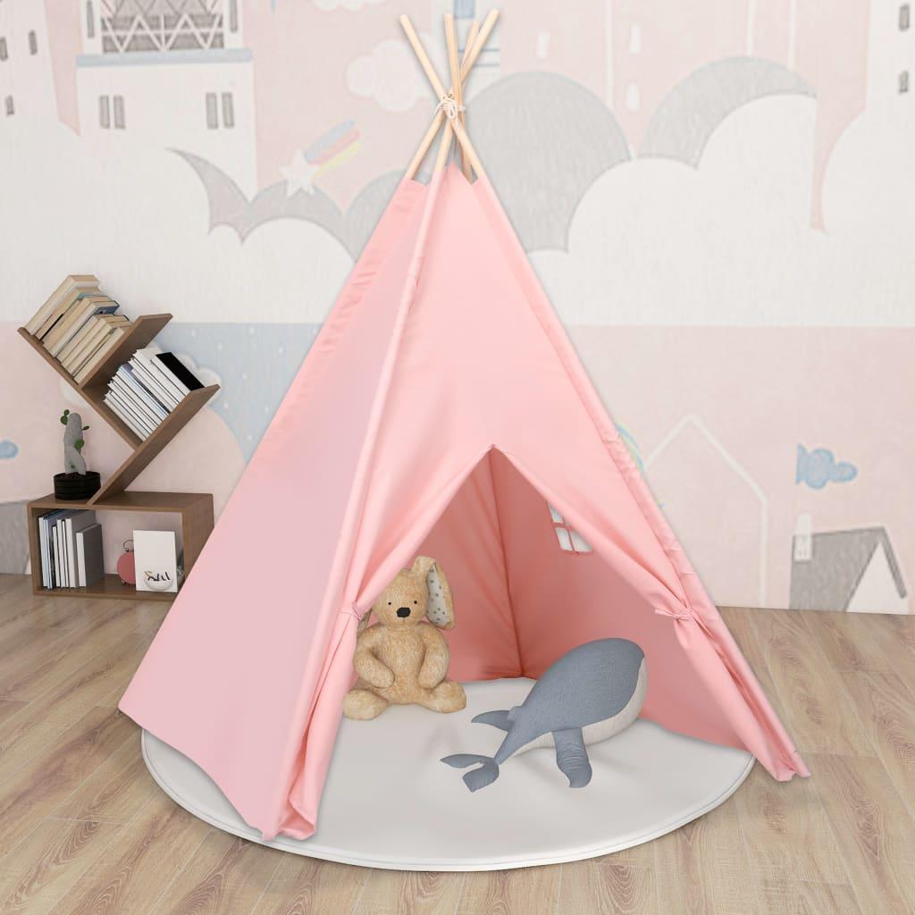 Kinder Tipi-Zelt mit Tasche Pfirsichhaut Rosa 120x120x150 cm