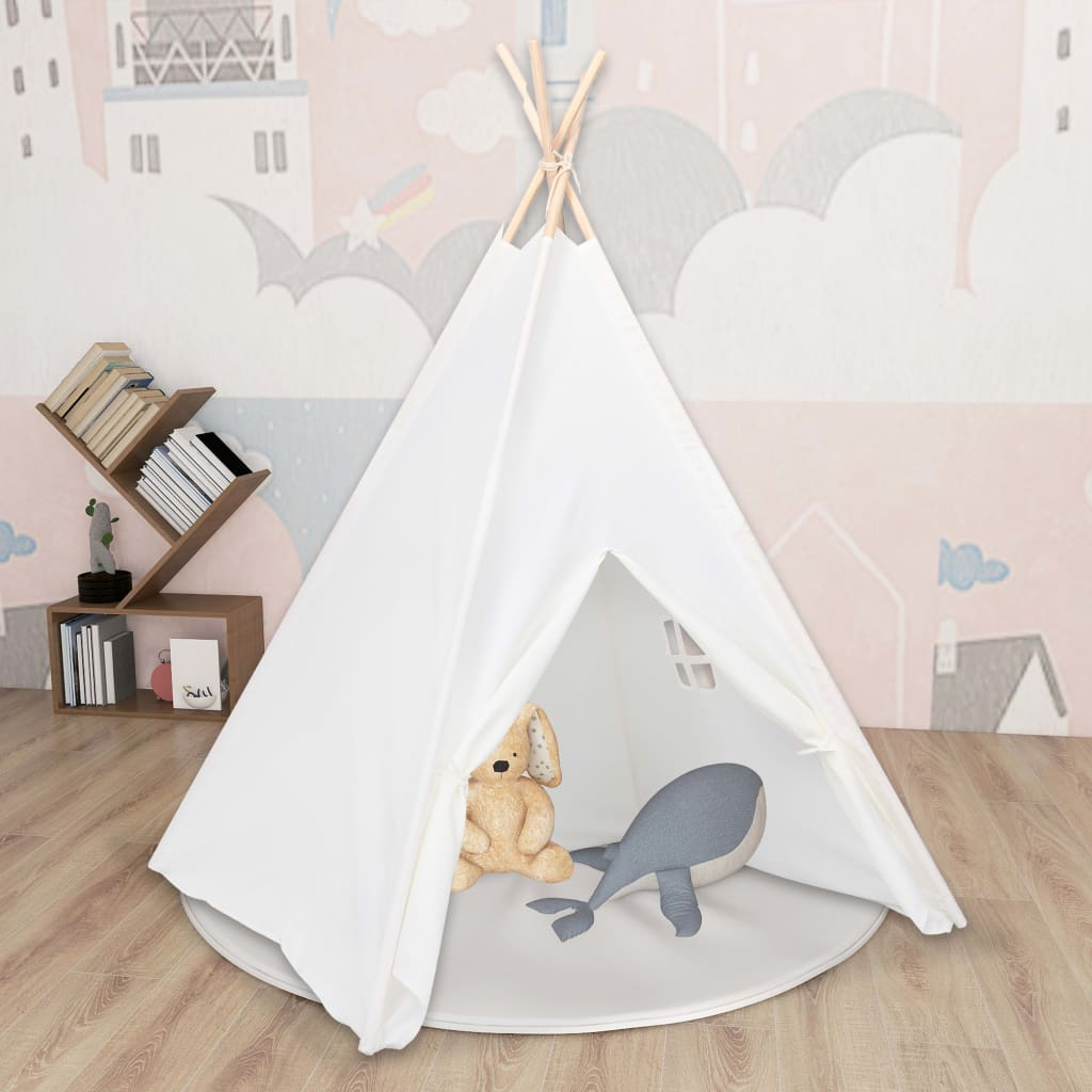 Kinder Tipi-Zelt mit Tasche Pfirsichhaut Weiß 120x120x150 cm