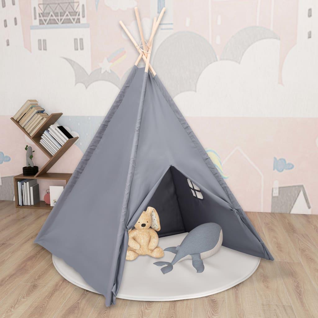 Kinder Tipi-Zelt mit Tasche Pfirsichhaut Grau 120x120x150 cm