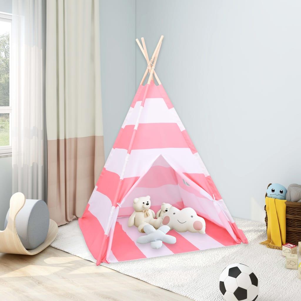 Kinder Tipi-Zelt Tasche Pfirsichhaut Gestreift 120x120x150 cm