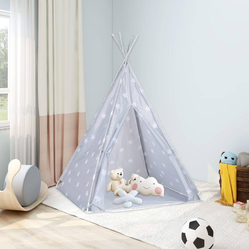 Kinder Tipi-Zelt mit Tasche Polyester Grau 115x115x160 cm