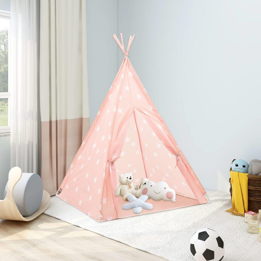Kinder Tipi-Zelt mit Tasche Polyester Rosa 115x115x160 cm