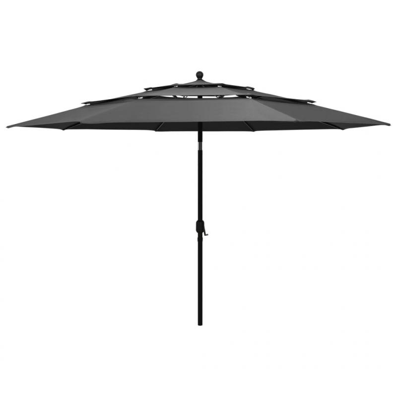 Sonnenschirm mit Aluminium-Mast 3-lagig Anthrazit 3,5 m