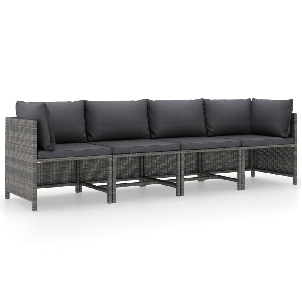 4-Sitzer-Gartensofa mit Kissen Grau Poly Rattan