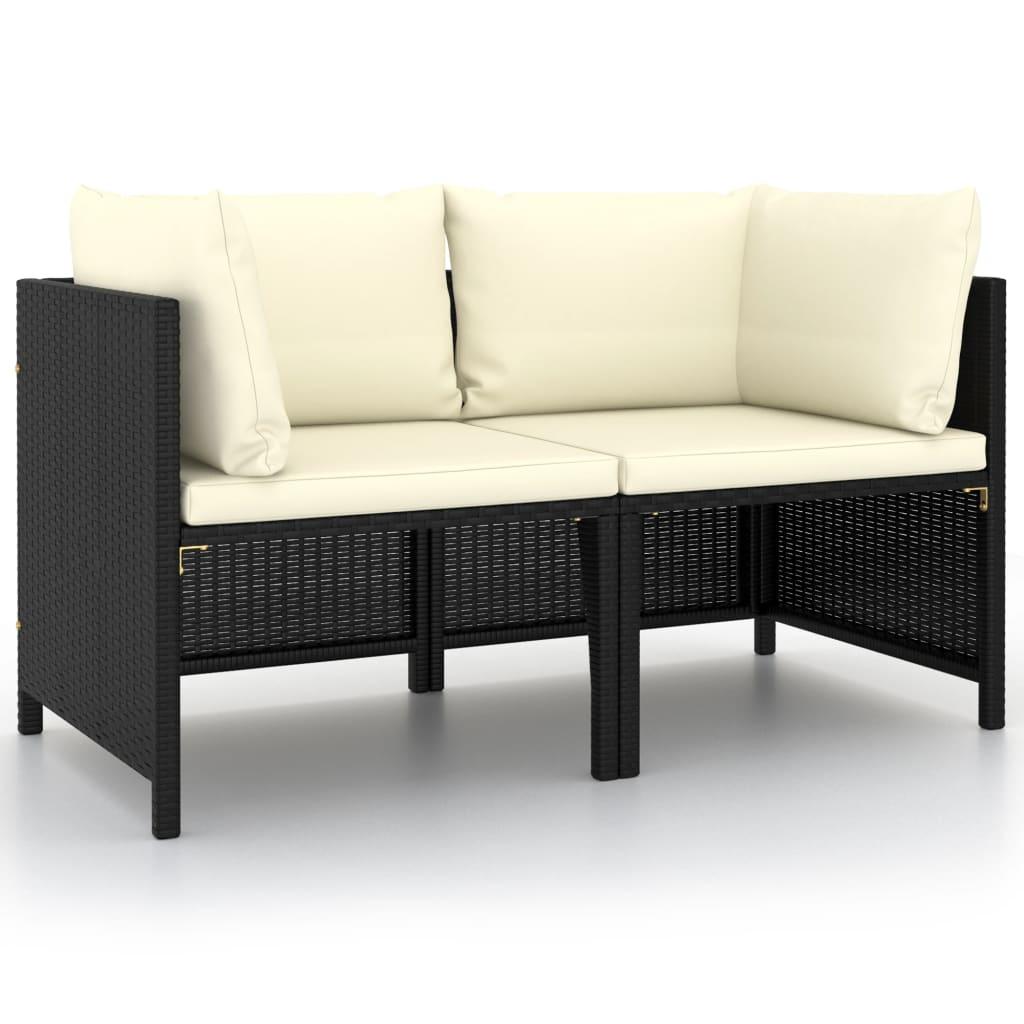 2-Sitzer-Gartensofa mit Kissen Schwarz Poly Rattan