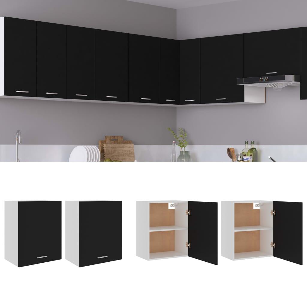 Küchenschränke 2 Stk. Schwarz 50x31x60 cm Spanplatte