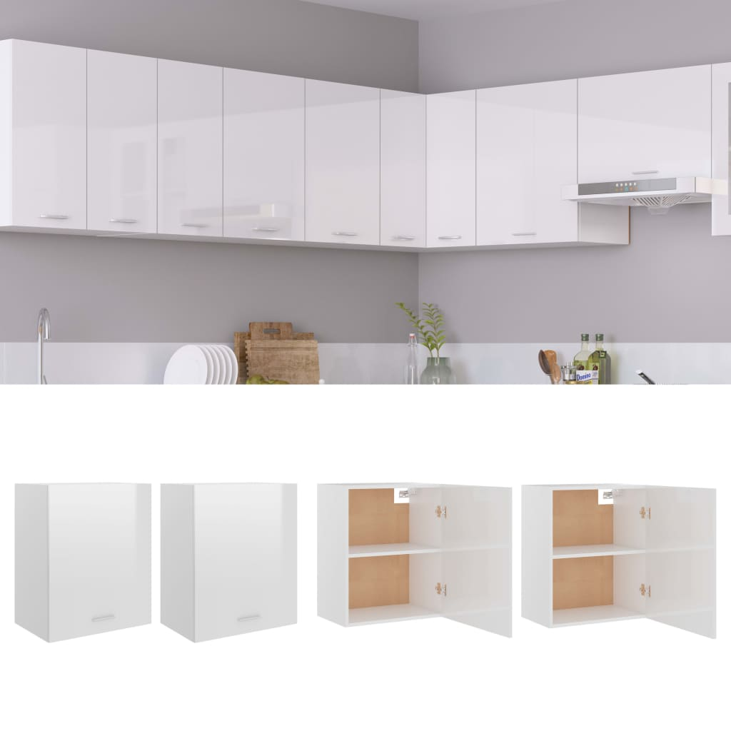 Küchenschränke 2 Stk. Hochglanz-Weiß 50x31x60 cm Spanplatte
