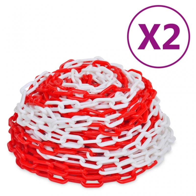 Absperrketten 2 Stk. Rot und Weiß Kunststoff 30 m