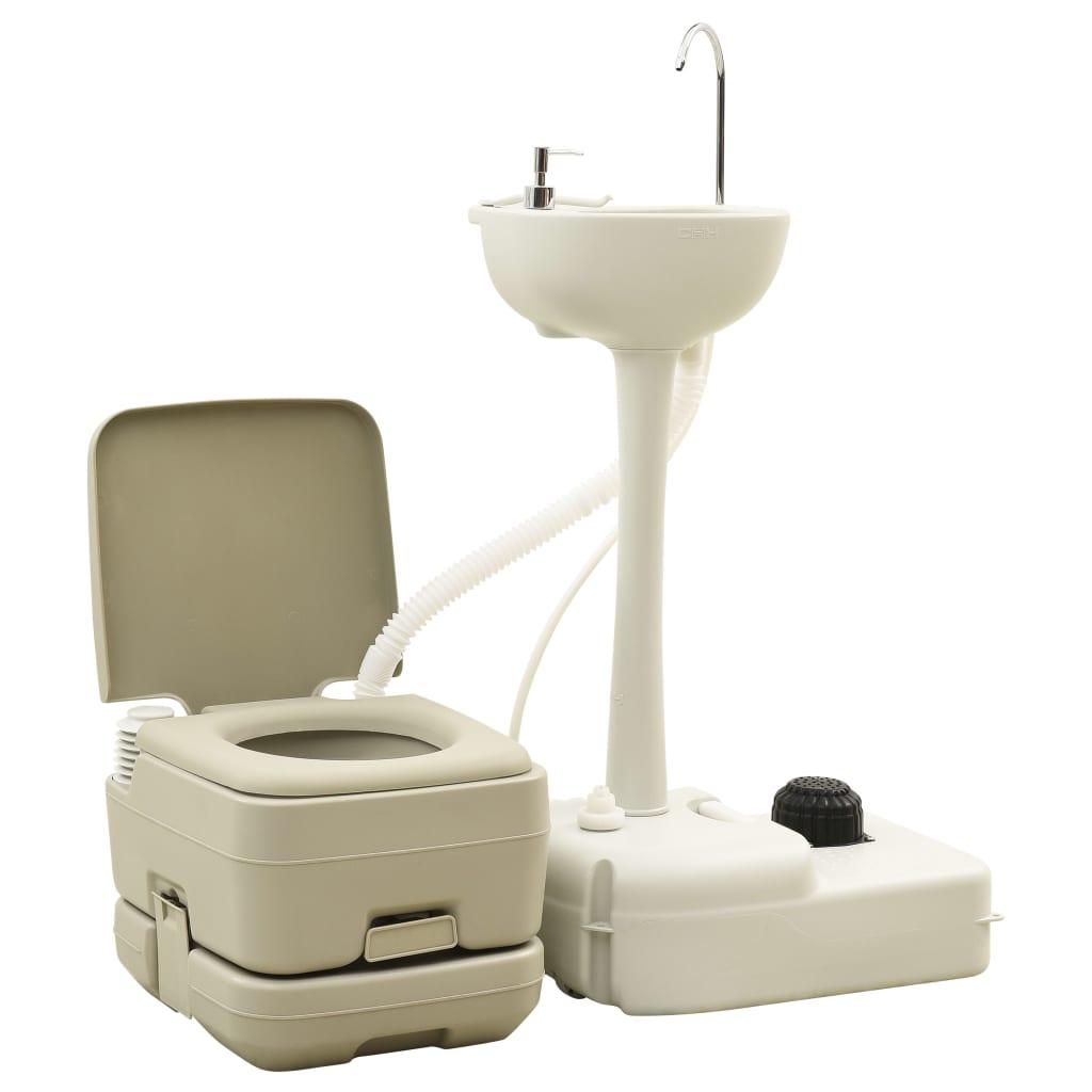 Campingtoilette 10+10L und Handwaschbecken 20L Set Tragbar Grau