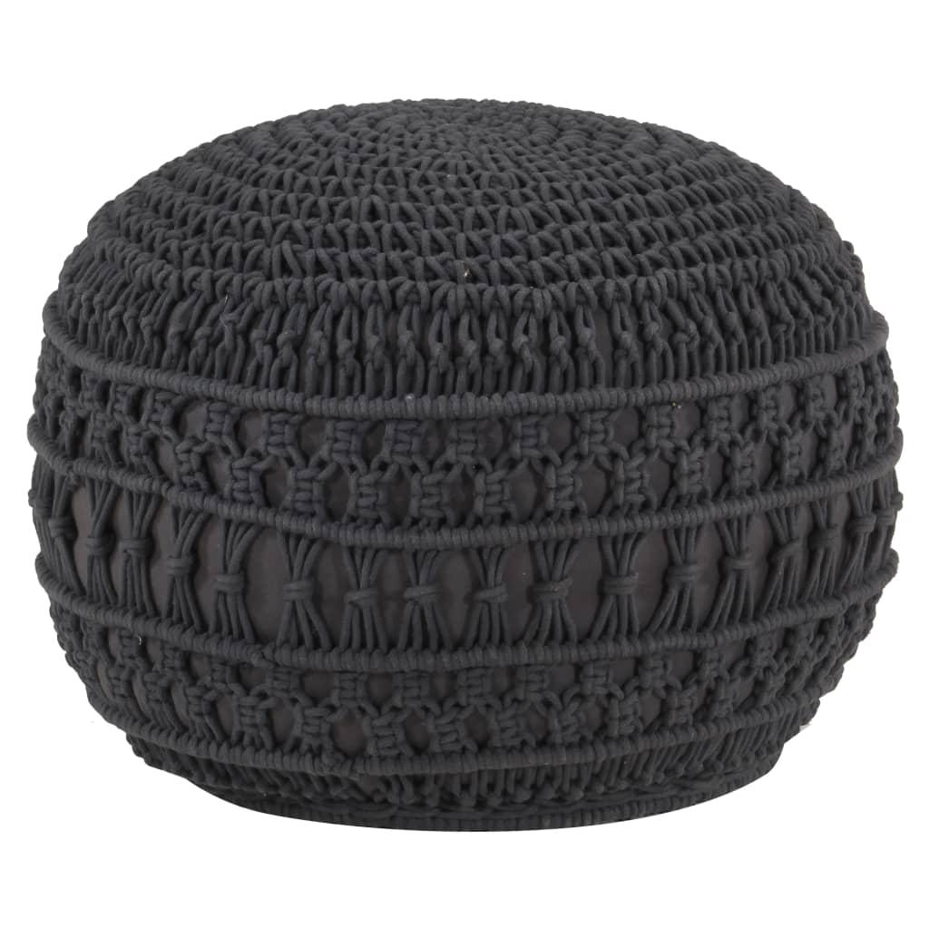 Makramee Sitzpuff Handgefertigt Anthrazit 45 x 30 cm Baumwolle
