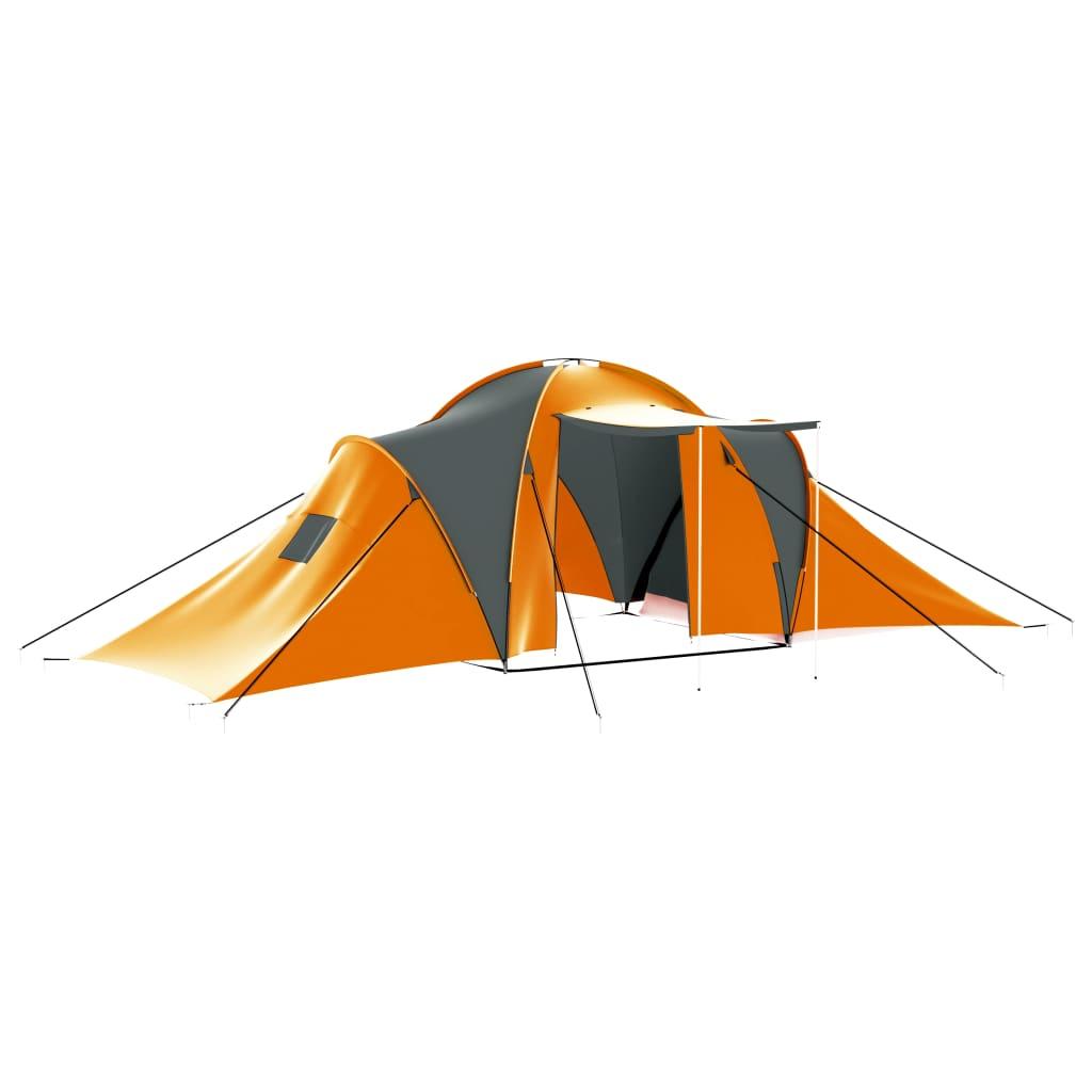 Campingzelt 9 Personen Stoff Grau und Orange