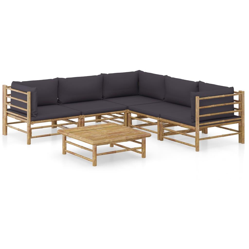 6-tlg. Garten-Lounge-Set mit Dunkelgrauen Kissen Bambus