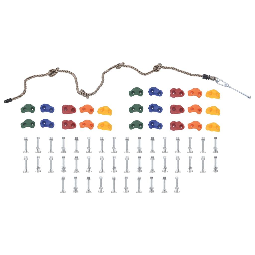 Klettersteine mit Seil 25 Stk. Mehrfarbig
