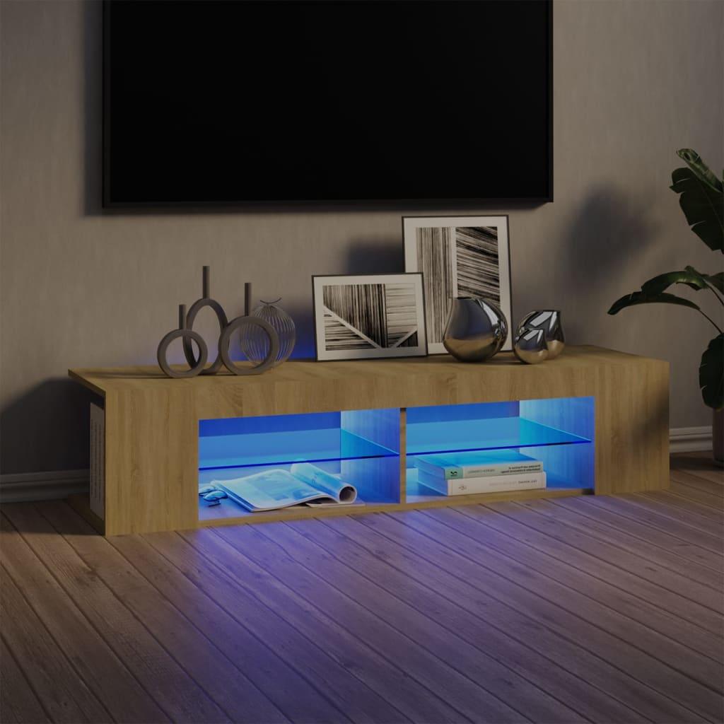 TV-Schrank mit LED-Leuchten Sonoma-Eiche 135x39x30 cm