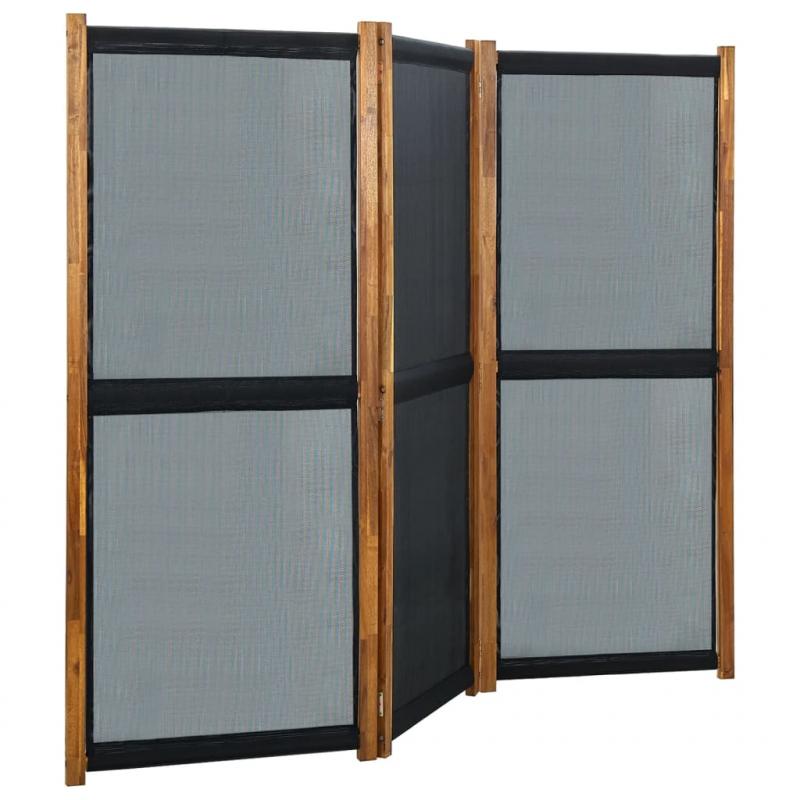 3-tlg. Raumteiler Schwarz 210x170 cm