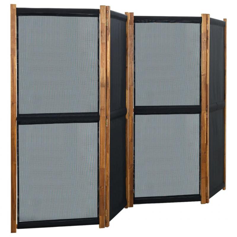 4-tlg. Raumteiler Schwarz 280x170 cm