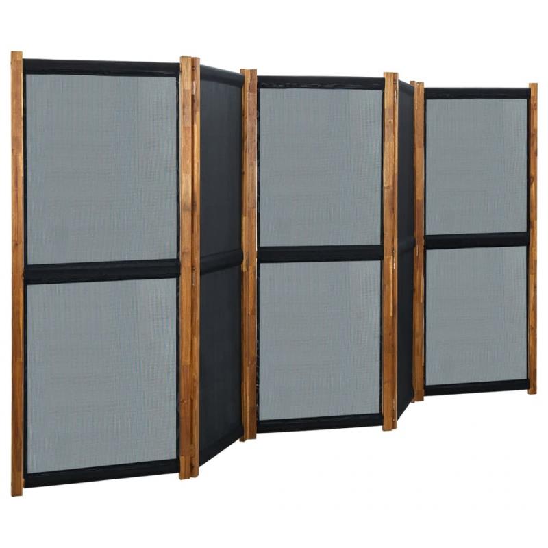 5-tlg. Raumteiler Schwarz 350x170 cm