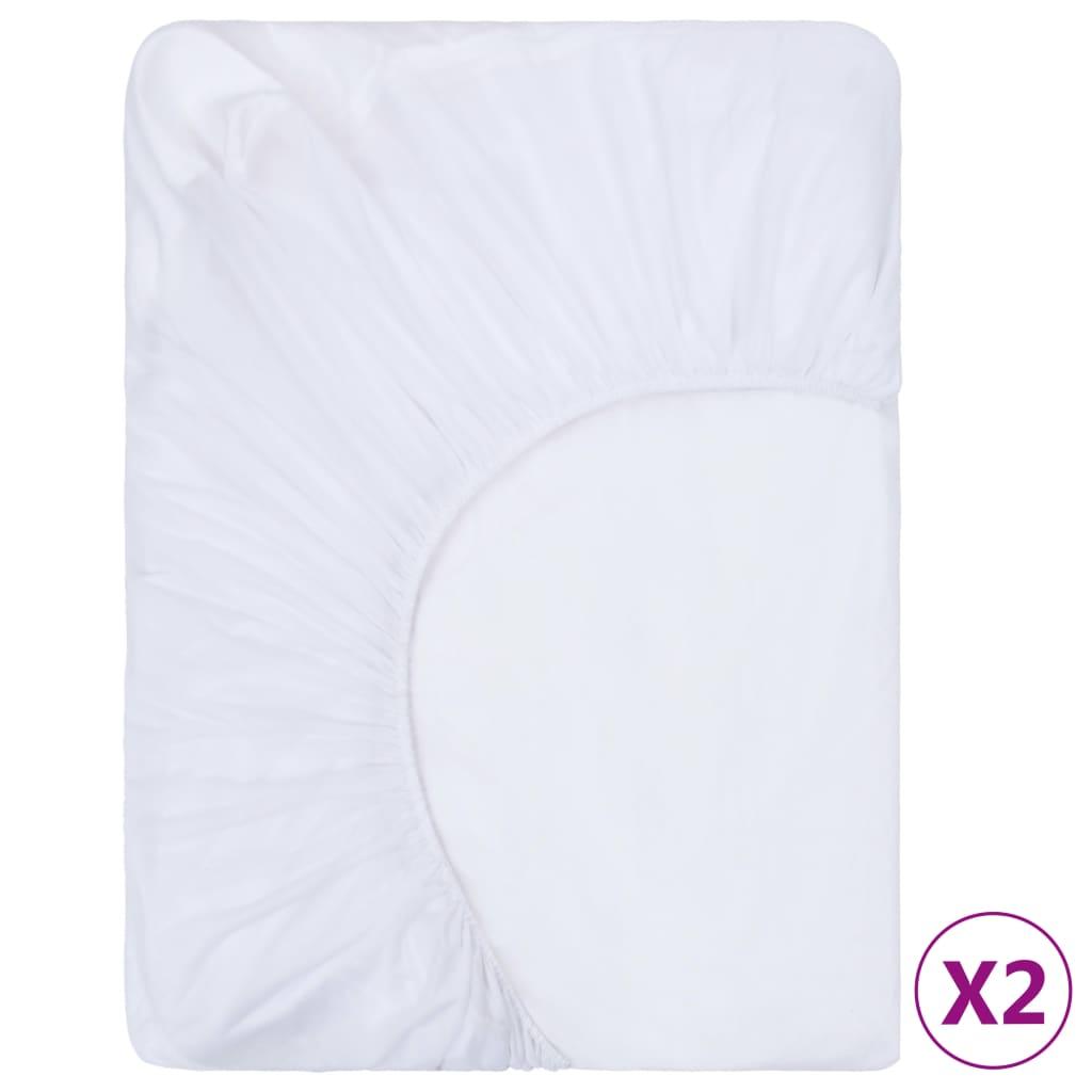 Spannbettlaken 2 Stk. Wasserdicht Baumwolle 90x200 cm Weiß