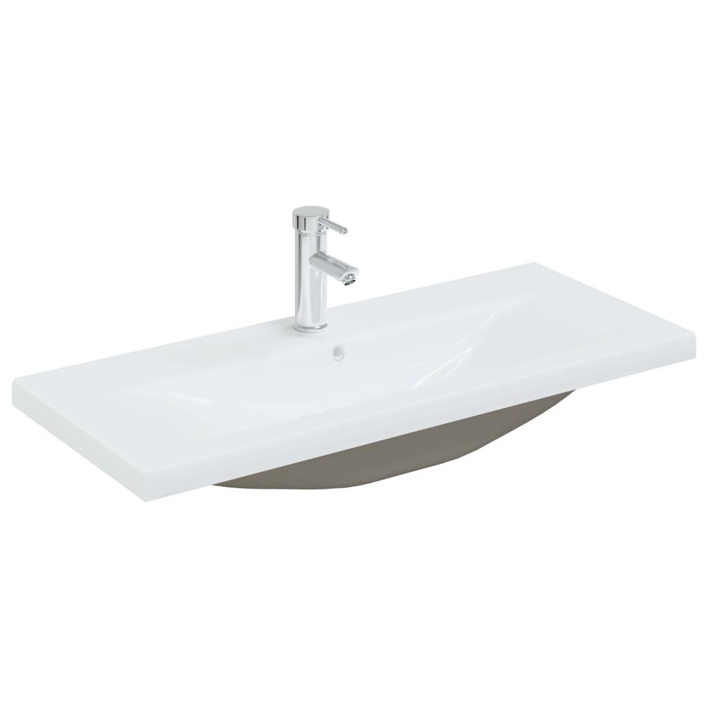 Einbauwaschbecken mit Wasserhahn 91x39x18 cm Keramik Weiß