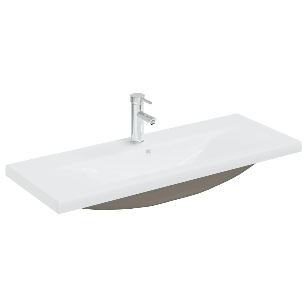 Einbauwaschbecken mit Wasserhahn 101x39x18 cm Keramik Weiß
