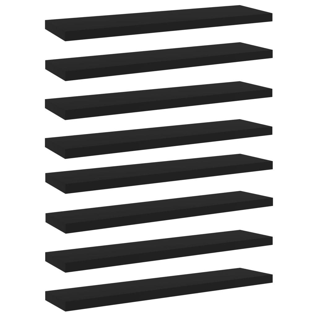 Bücherregal-Bretter 8 Stk. Schwarz 40x10x1,5 cm Spanplatte
