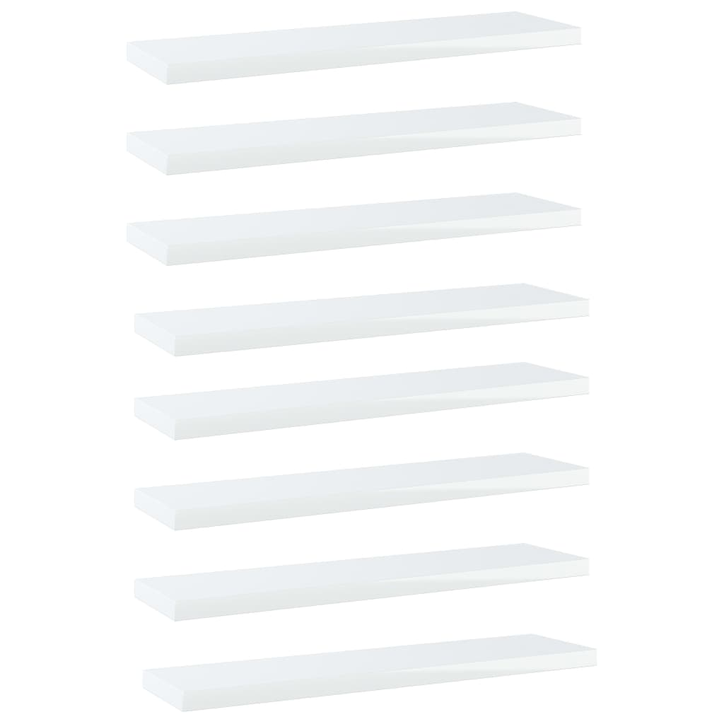Bücherregal-Bretter 8 Stk. Hochglanz-Weiß 40x10x1,5 cm