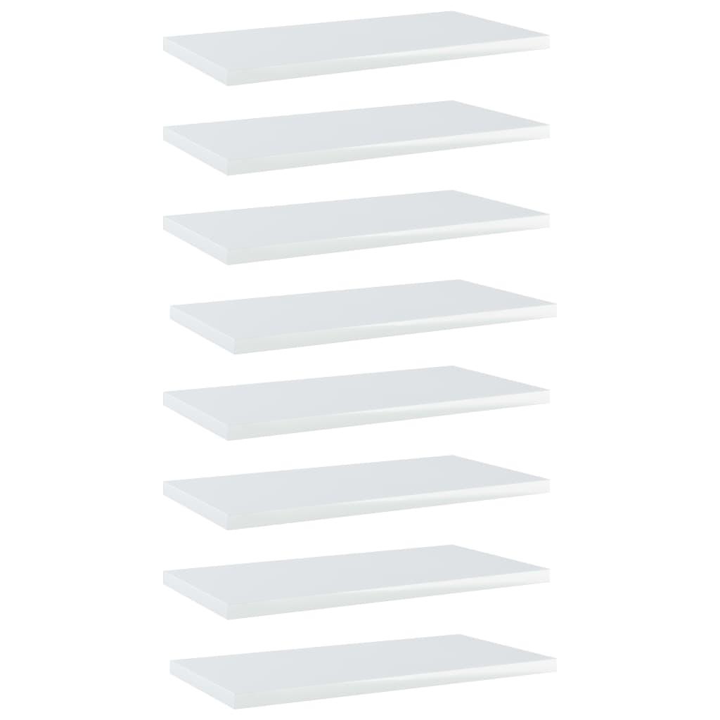 Bücherregal-Bretter 8 Stk. Hochglanz-Weiß 40x20x1,5 cm