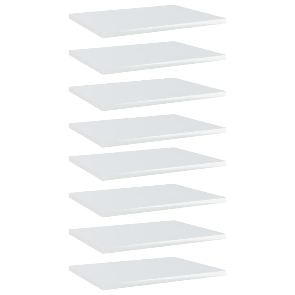 Bücherregal-Bretter 8 Stk. Hochglanz-Weiß 40x30x1,5 cm