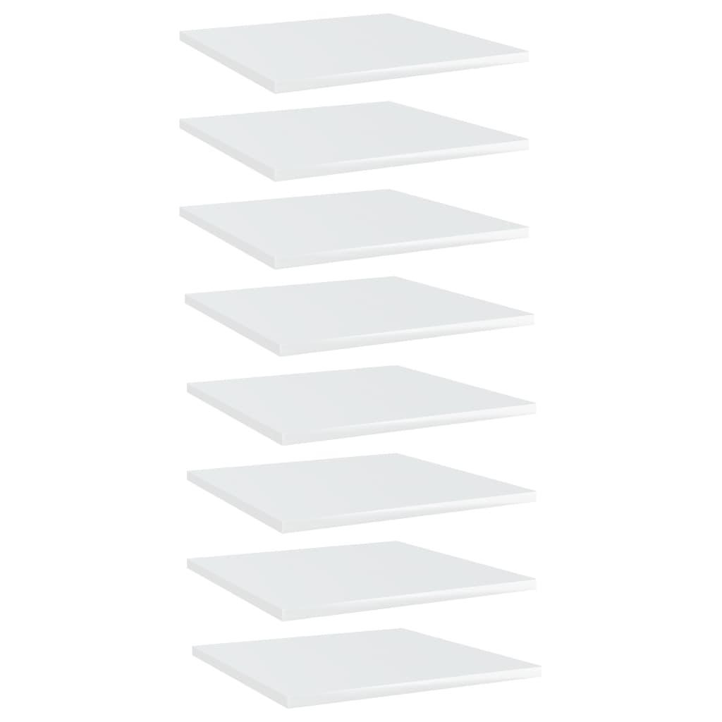 Bücherregal-Bretter 8 Stk. Hochglanz-Weiß 40x40x1,5 cm
