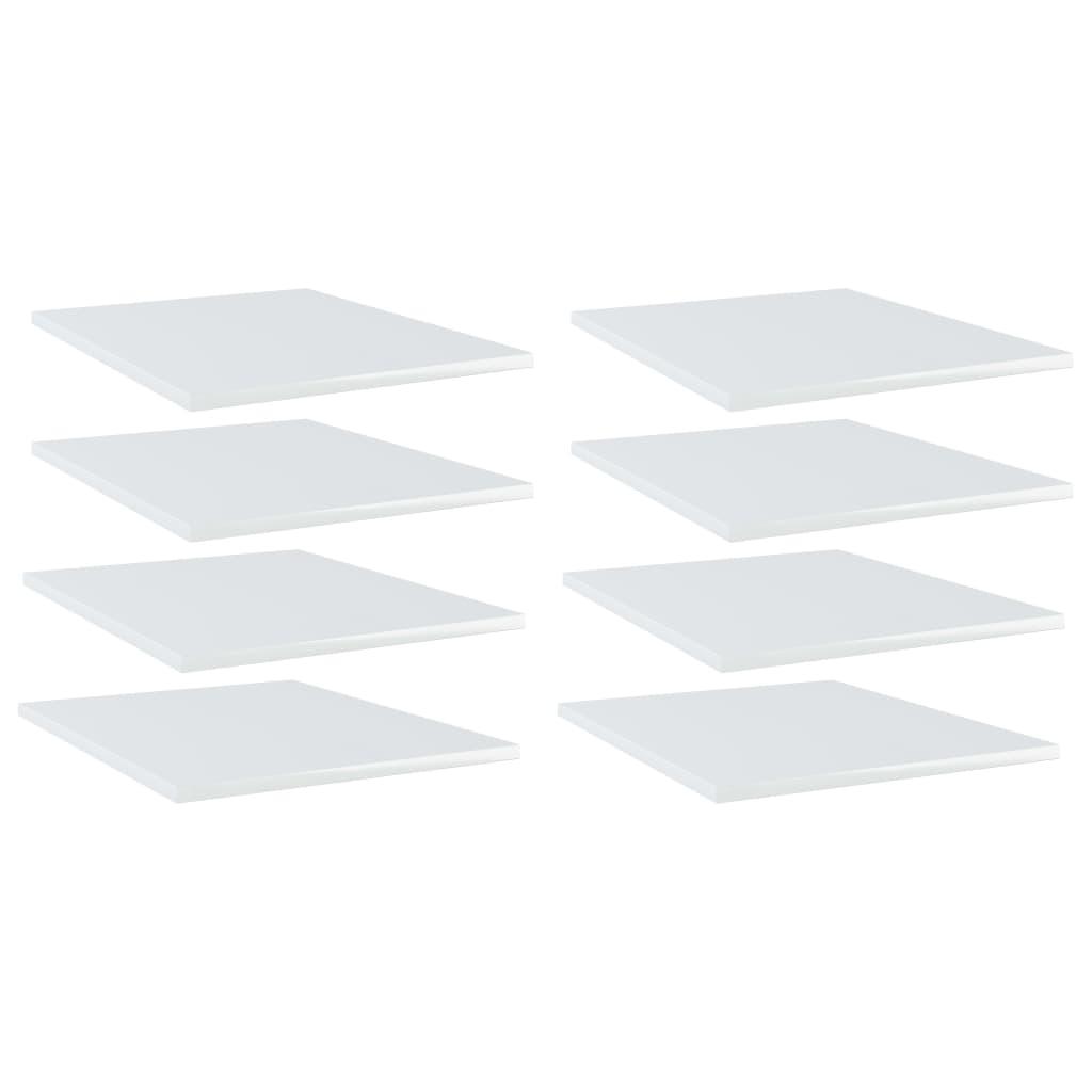Bücherregal-Bretter 8 Stk. Hochglanz-Weiß 40x50x1,5 cm