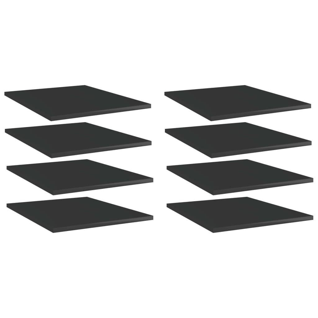 Bücherregal-Bretter 8 Stk. Hochglanz-Schwarz 40x50x1,5 cm