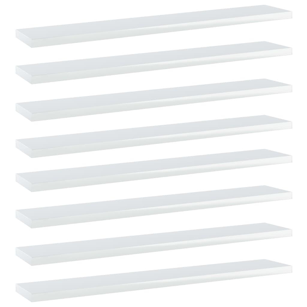 Bücherregal-Bretter 8 Stk. Hochglanz-Weiß 60x10x1,5 cm