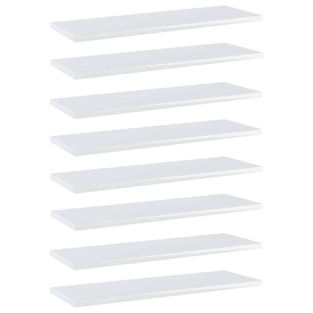 Bücherregal-Bretter 8 Stk. Hochglanz-Weiß 60x20x1,5 cm
