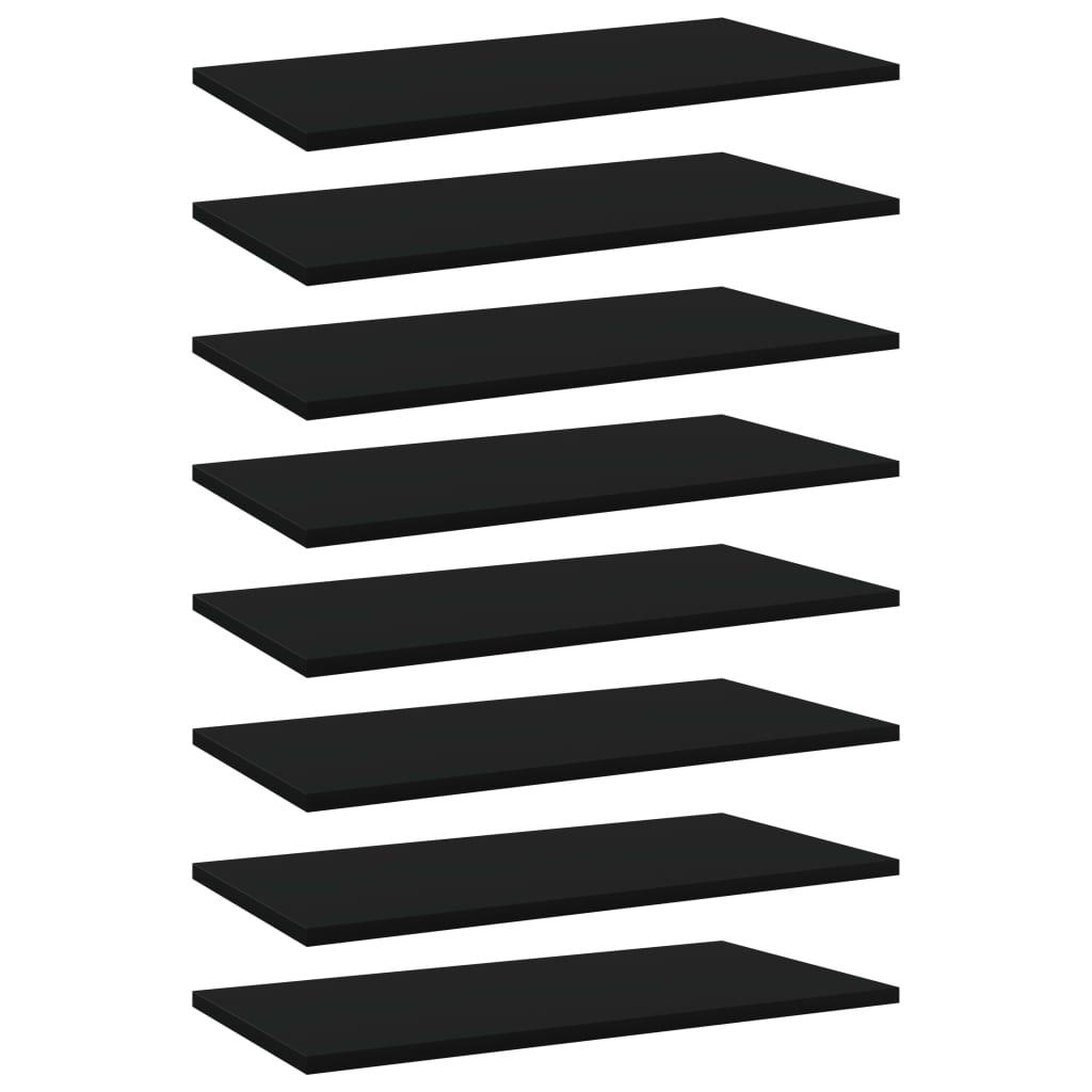 Bücherregal-Bretter 8 Stk. Schwarz 60x30x1,5 cm Spanplatte